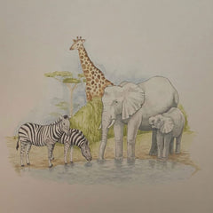 African Watering Hole Painting