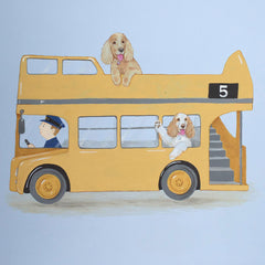 Dogs in bus painting
