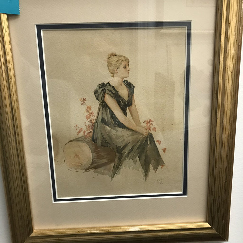 Lady on log oil painting - Redecorate Consignment