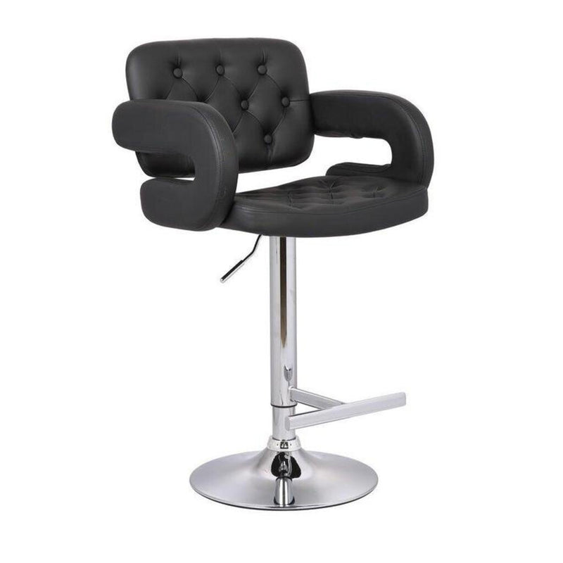 Black Button-tufted Leather Upholstered Modern Adjustable Bar Stool - Redecorate Consignment