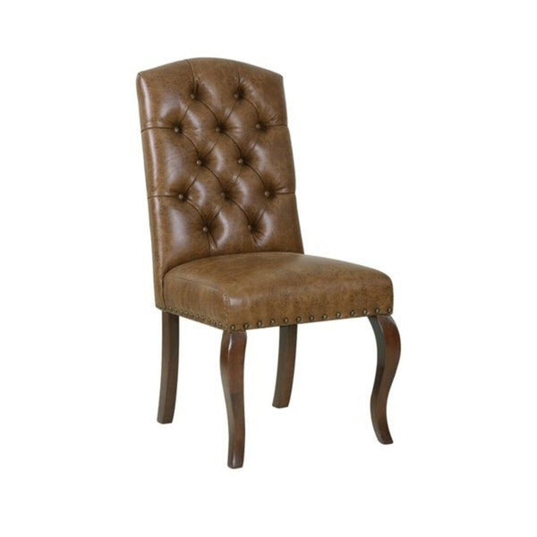 Tufted Back Dining Chair - Light Brown Faux Leather - Retails $301 - Redecorate Consignment