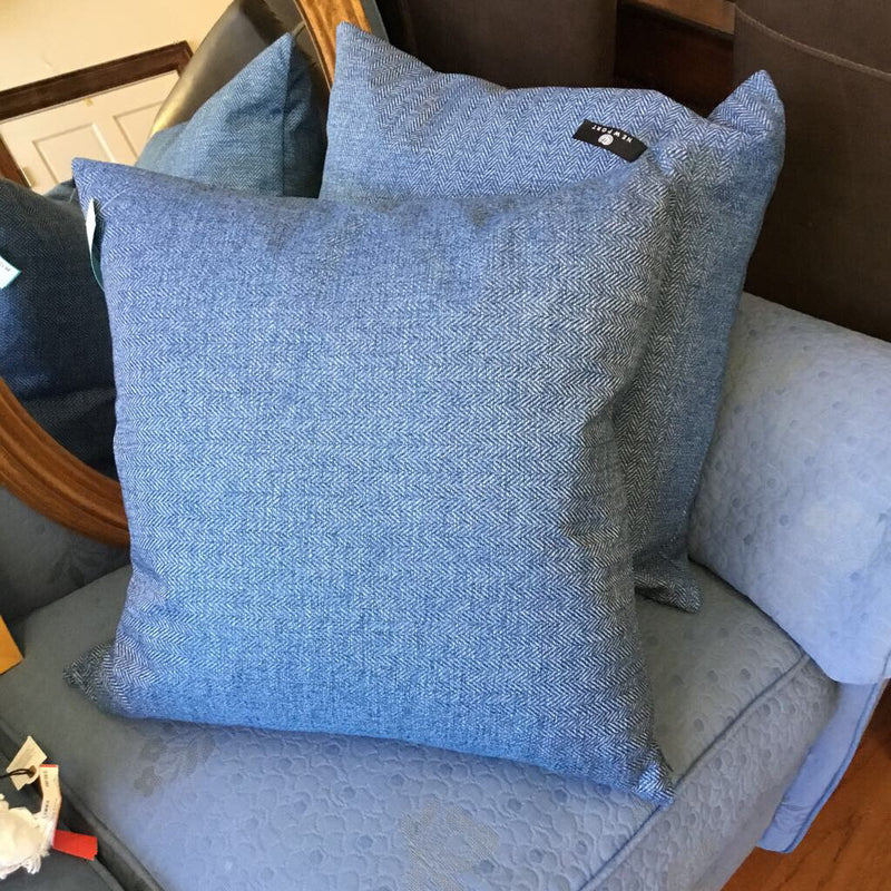"Newport Blue Herringbone Pillow 19"" 2 available"