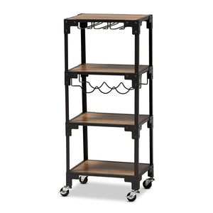 BAXTON STUDIO VICTOR INDUSTRIAL RUSTIC WALNUT FINISHED WOOD AND BLACK METAL 4-TIER MOBILE WINE CART