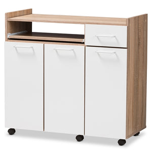 BAXTON STUDIO CHARMAIN MODERN AND CONTEMPORARY LIGHT OAK AND WHITE FINISH KITCHEN CABINET