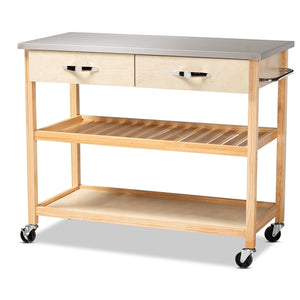 BAXTON STUDIO CRESTA MODERN AND CONTEMPORARY PINE WOOD AND STAINLESS STEEL 2-DRAWER KITCHEN ISLAND UTILITY STORAGE CART