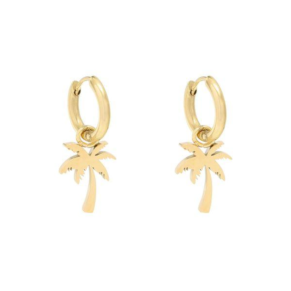 Cindy Summer Palm Tree Earrings Gold and Silver - Earrings, Earrings Gold, Sale - Cindy Summer Palm Tree Earrings Gold and Silver - ANNABO Online Store