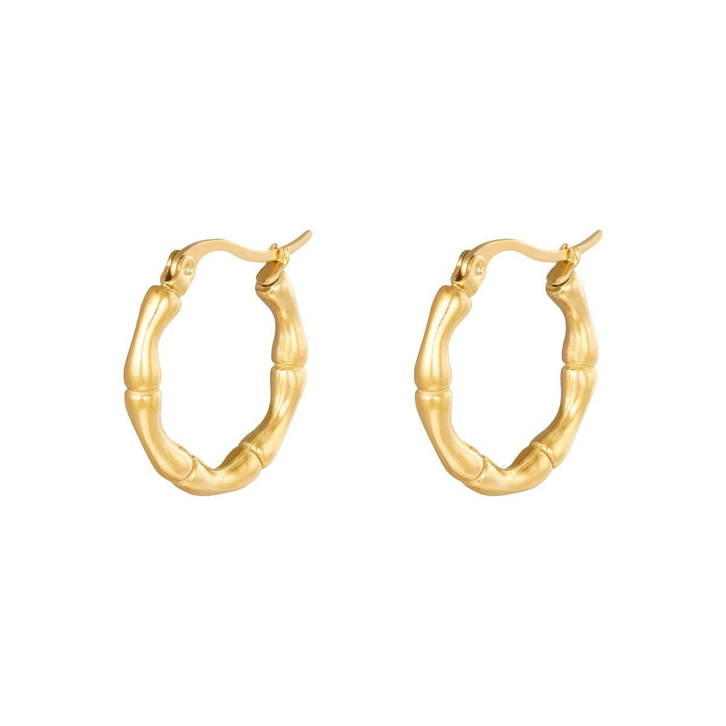 Juliette Bamboo Earrings Gold and Silver - Earrings, Earrings Gold, earrings silver, new arrivals - Juliette Bamboo Earrings Gold and Silver - ANNABO Online Store