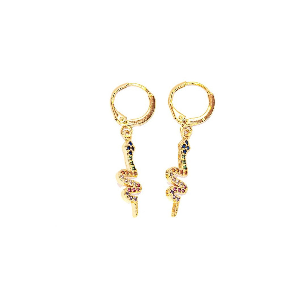 Snakey Zoë Earrings Gold - Earrings, Earrings Colored, Earrings Gold, Sale - Snakey Zoë Earrings Gold - ANNABO Online Store