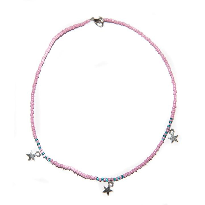 Handmade Pink Star Choker Necklace Silver - Necklaces, Necklaces Colored, Necklaces Silver, Sale - Handmade Pink Star Choker Necklace Silver - ANNABO Online Store