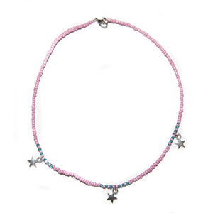 Handmade Pink Star Choker Necklace Silver