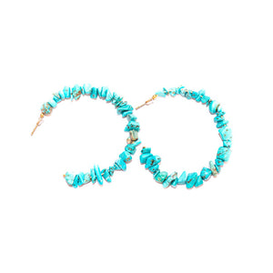 Chips Stone Aqua Blue Earrings