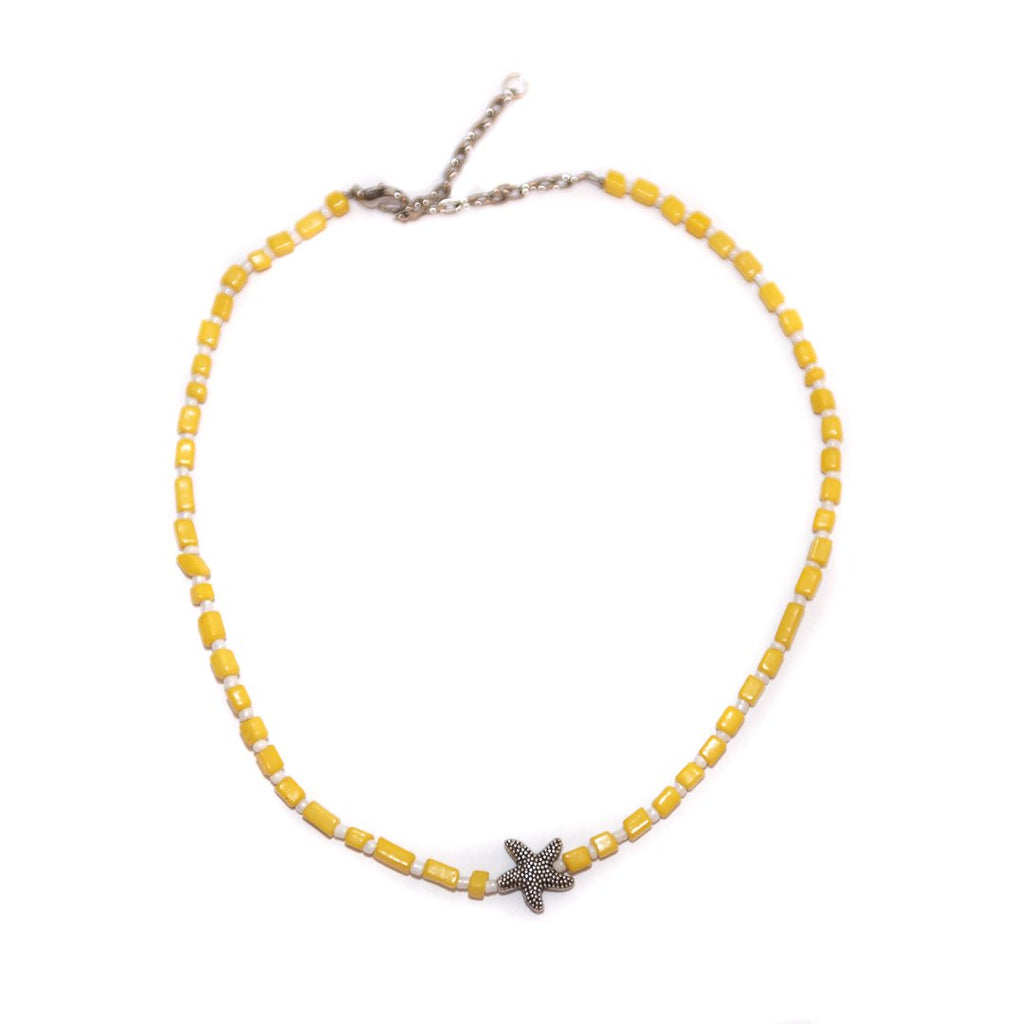 Handmade Sealife Yellow Choker Necklace Silver - Limited Editions, Necklaces, Necklaces Colored, Necklaces Silver, Ocean, Sale - Handmade Sealife Yellow Choker Necklace Silver - ANNABO Online Store
