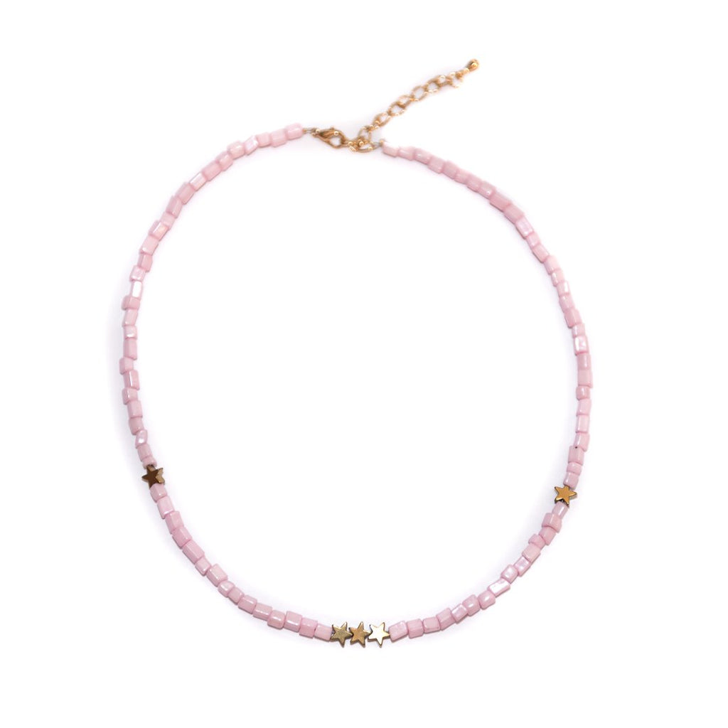 Handmade Think Pink Starry Choker Necklace Gold - Limited Editions, Necklaces, Necklaces Colored, Necklaces Gold, Sale - Handmade Think Pink Starry Choker Necklace Gold - ANNABO Online Store