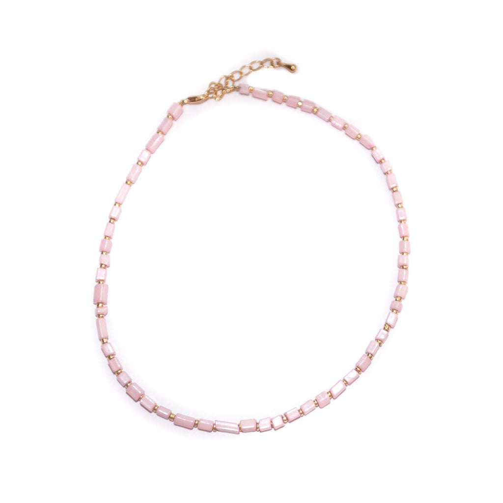 Handmade Baby Pink Choker Necklace - Limited Editions, Necklaces, Necklaces Colored, Necklaces Gold, Sale - Handmade Baby Pink Choker Necklace - ANNABO Online Store