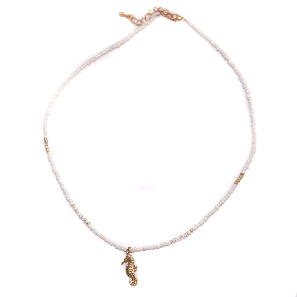 Handmade White Seahorsy Choker Nacklace Gold - Limited Editions, Necklaces, Necklaces Colored, Necklaces Gold, Sale - Handmade White Seahorsy Choker Nacklace Gold - ANNABO Online Store