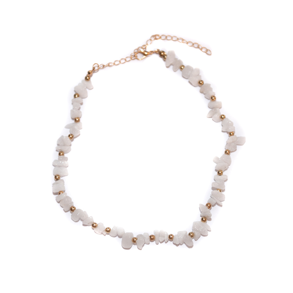 Handmade White Earth Stone Choker Necklace Gold - Necklaces, Necklaces Colored, Necklaces Gold, Sale - Handmade White Earth Stone Choker Necklace Gold - ANNABO Online Store