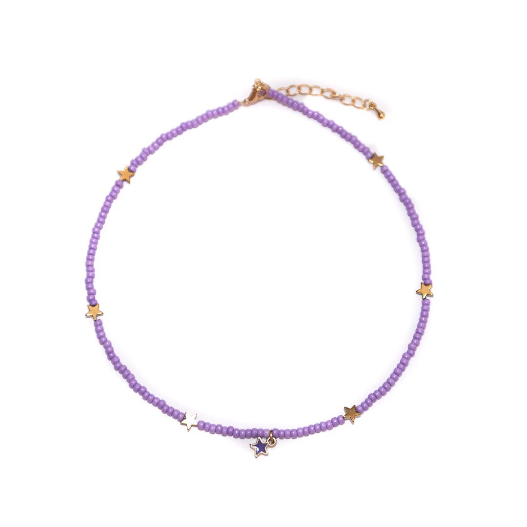 Handmade Purple Star Colorful Choker Necklace