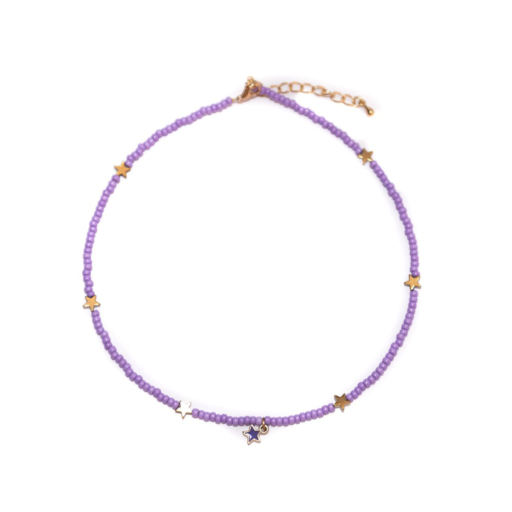 Handmade Purple Star Colorful Choker Necklace - Limited Editions, Necklaces, Necklaces Colored, Necklaces Gold, Sale - Handmade Purple Star Colorful Choker Necklace - ANNABO Online Store