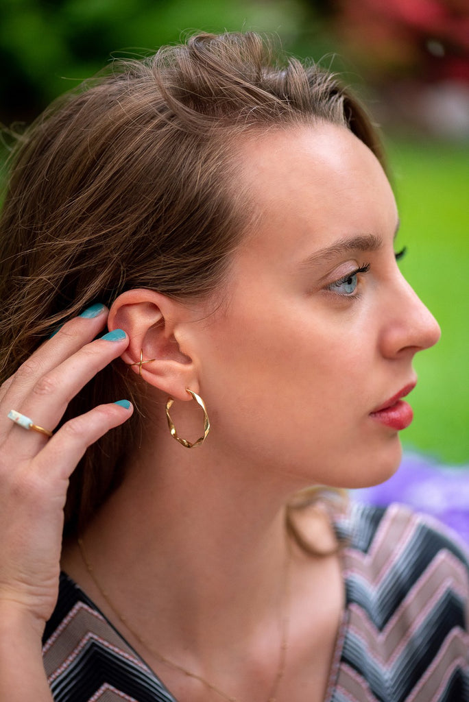 Sky Golden Earcuff - Earrings, Earrings Gold, Ruby Collection SS '20 - Sky Golden Earcuff - ANNABO Online Store