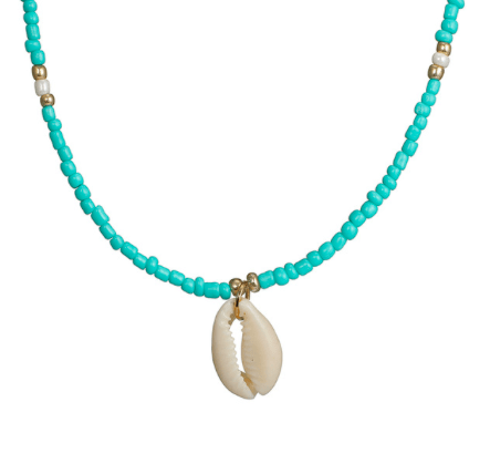 Handmade What The Shell Aqua Blue Choker Necklace Gold - Necklaces, Necklaces Colored, Necklaces Gold, Sale - Handmade What The Shell Aqua Blue Choker Necklace Gold - ANNABO Online Store