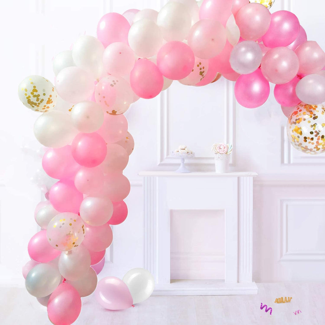 Balloon Garland Arch Kit Latex Balloons Pack for Baby Shower Weeding Birthday Bachelorette Party Backdrop Background Decorations (Pink)