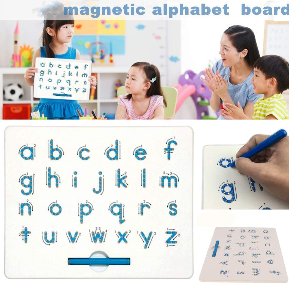 Magnetic Alphabet Letter Tracing Board - STEM Educational Learning ABC Letters Kids Drawing Board with Stylus Pens- Best Gift for Boys and Girls