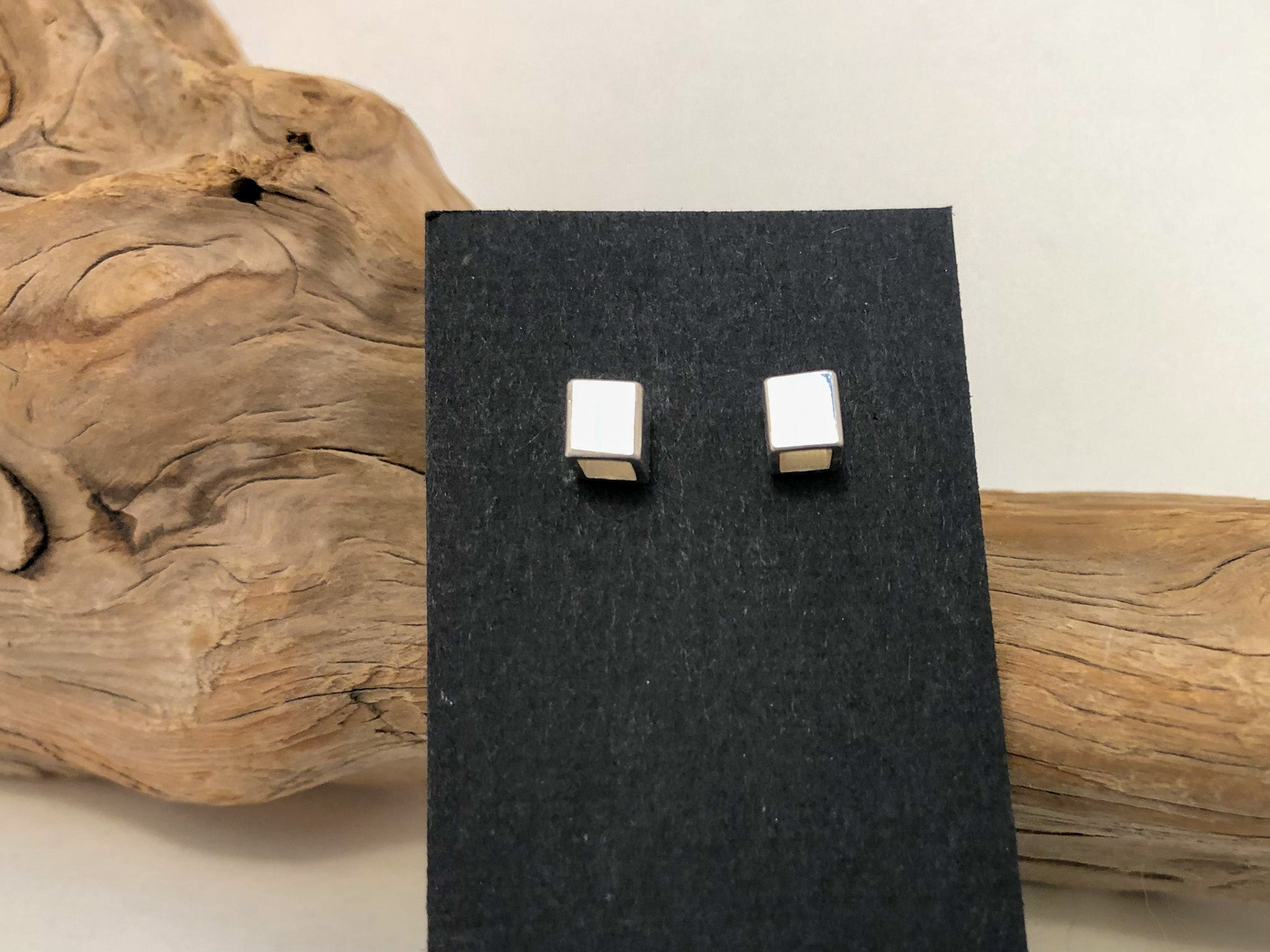 Silver cube studs with hollow insides Kainoa Jewelry