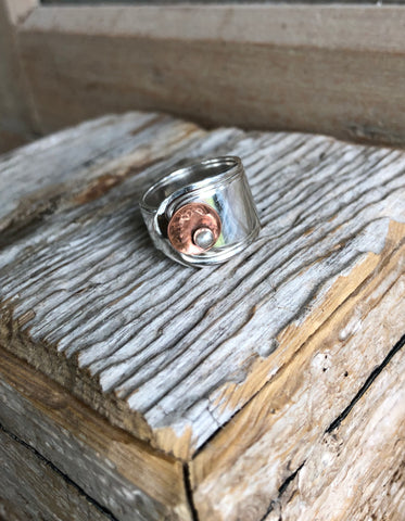 Sterling Silver Spoon Ring with a copper disk  Kainoa Jewelry