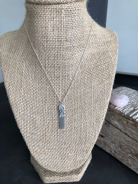 Hammered and satin finish bar necklace transition 2020