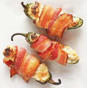 Roasted Jalapenos Stuffed with Cream Cheese & Wrapped in Bacon!!
