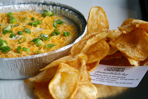 Warm Loaded Baked Potato Dip with Homemade Potato Chips