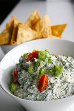 Load image into Gallery viewer, Spinach and Artichoke Dip with Freshly Fried Flour Tortilla Chips - SAME DAY DELIVERY