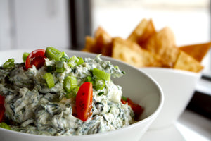 Spinach and Artichoke Dip with Freshly Fried Flour Tortilla Chips - SAME DAY DELIVERY
