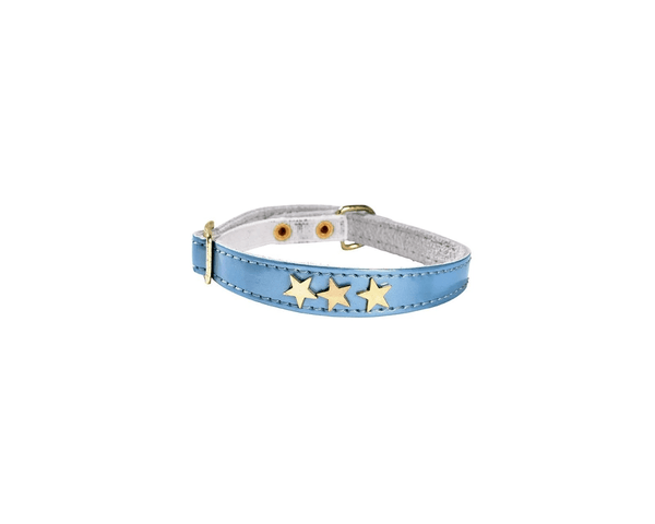 Etoiles Leather Cat Collar - Blue - Bobby - PetStore.ae
