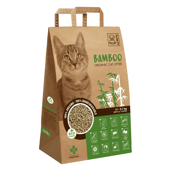 Bamboo Organic & Biodegradable Cat Litter With Waste Scoop Kit - M-Pets - PetStore.ae