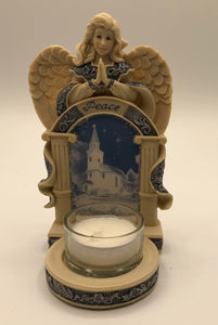 Angel Tea Light Holder with Church Scene