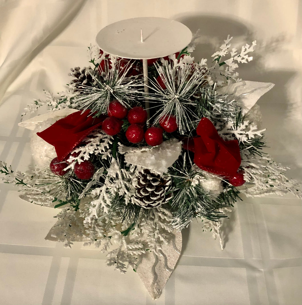 Large Christmas Centrepiece with Pillar Candle Holder