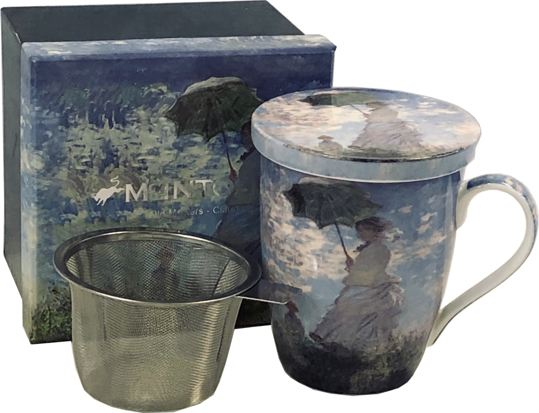 Monet Woman with a Parasol Tea Mug with Infuser and Lid