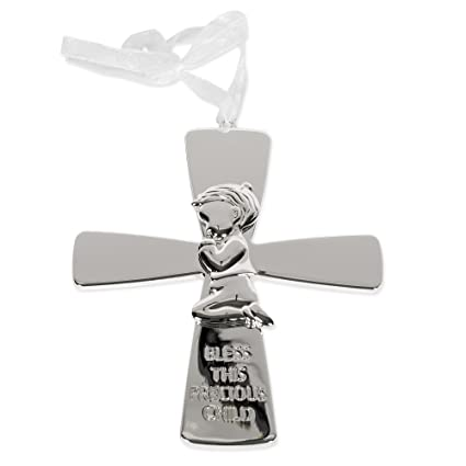 Bless this Child Silver Wall Cross