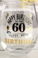 Happy 60th Birthday 16oz. Stemless Wine Glass
