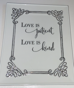 """Love is Patient, Love is Kind"" Ceramic Wall Art"