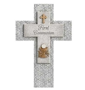 First Communion Grey and Gold Resin Wall Cross