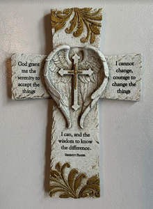 Serenity Prayer Wings Wall Cross