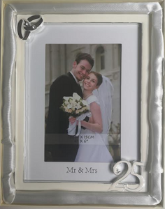 "25th Wedding Frame (""4x6"") White With Silver RIngs"