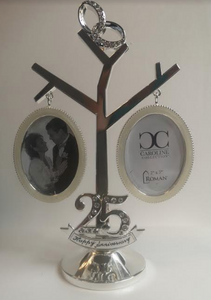 25th Wedding Anniversary Silver Plated Tree (Engravable With Two Frames 2x3)