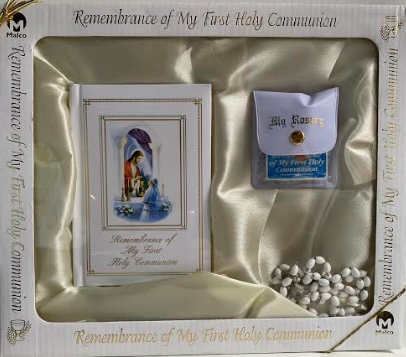 First Holy Communion Rosary, Book & Pin Set