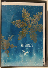 Load image into Gallery viewer, Blessings To You Blue With Gold Snowflake Christmas Cards