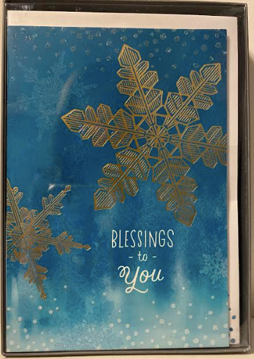Blessings To You Blue With Gold Snowflake Christmas Cards