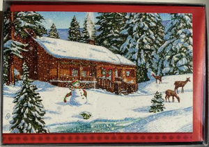 Winter Scene With Snowman And Deer Christmas Cards