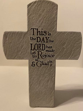 "Load image into Gallery viewer, ""This Is The Day The Lord Has Made"" Ceramic Cross."
